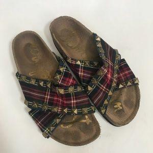 Sam Edelman slip on plaid pyramid studded sandals